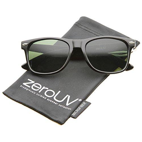 zeroUV - Classic Eyewear Iconic 80's Retro Large Horn Rimmed Sunglasses 54mm (Black / - Sunglasses Risky Business