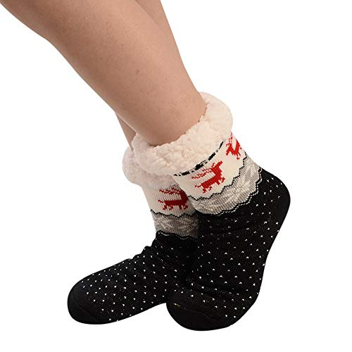 Stheanoo Christmas Women Cotton Socks with Cute Print Thicker Anti-Slip Floor Socks Carpet Winter Autumn Warm Short Socks Comfortable Breathable Thicken Sox for Girls -