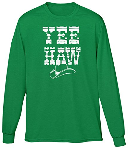 Blittzen Mens T-shirt Yee Haw Cowboy Hat, L, Green
