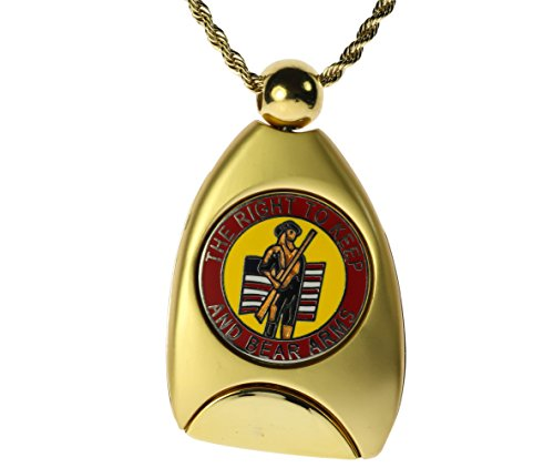 Sujak Jewelry Right to Keep and Bear Arms 2 inch Pendant & 22 inch Rope Chain 18K Gold overlay HON214920 F1D1HJC ()