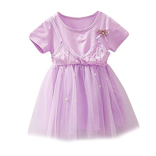 Dressin Girls Dress Floral Pearl Lace Strap Net Casual Princess Short Sleeve Dress Clothes(3Colors,12M_4T)