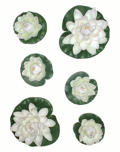 6 x Water Lilies, Artificial Pond Plants by Neuhaus Decor