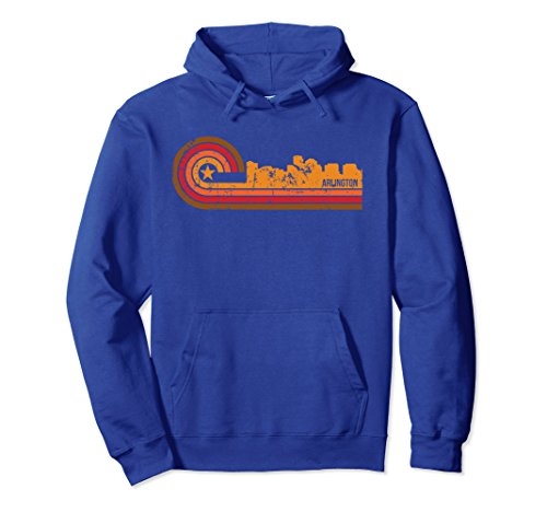 Unisex Retro Style Arlington Virginia Skyline Hoodie Large Royal - To Arlington Va Women Women