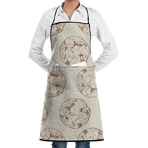 GHJQWES Chocolate Chip Cookie (2) Funny Chef Birthday Black Apron Gift Ideas for Women,Men,Mom,Dad,Wife,Unisex - Adjustable Kitchen Aprons Cook Bib for Cooking Baking Grilling BBQ from GHJQWES