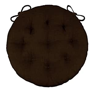 "16"" Round Bistro Cushion - Rave Chocolate Brown - Indoor / Outdoor: Fade Resistant, Mildew Resistant, Stain Resistant - Latex Foam Fill - Solid Color"