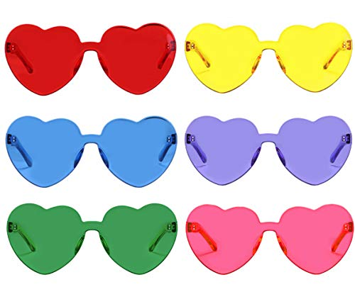One Piece Heart Shaped Rimless Sunglasses Transparent Candy Color Eyewear(6 -