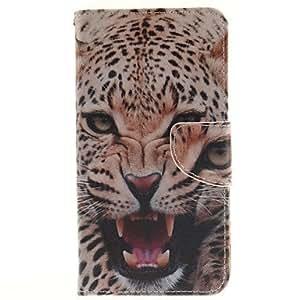Patrón del leopardo de la PU cuero de la cubierta de cuerpo completo con soporte para lg g4 stylus