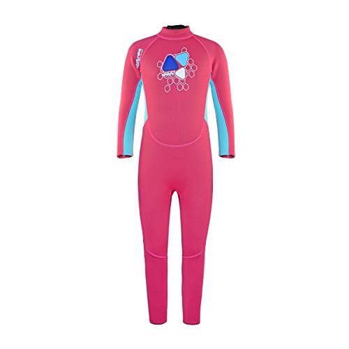 Layatone Kids Wetsuit Premium 2mm Neoprene Diving Suit Girl Boy Long Sleeves Thermal One Piece Swimsuit for Child Scuba Surf Suit Wet Suits Boys Girls (Pink,5-6years ()