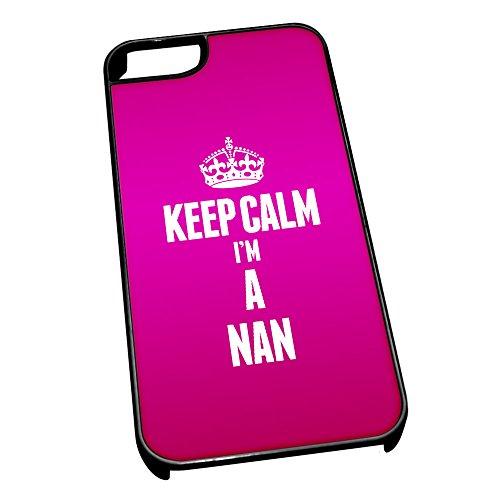 Nero cover per iPhone 5/5S 2631rosa Keep Calm I m A Nan