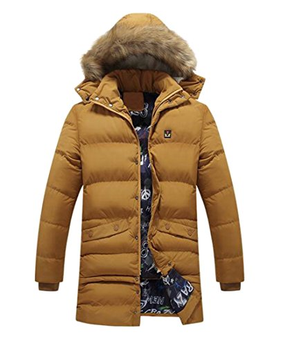 Down Coat Men's today UK Fur Winter Button Up Hooded Yellow Removable Faux Jacket BwHPpg