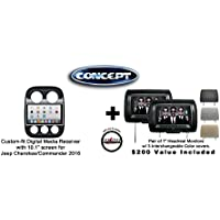 Concept FFMS-10B 10.1 Panel Bottom Controls GPS Navigation for Jeep Cherokee/Commander 2016 (JEE-CHE-10) & Pair of CLS703 7 Headrest Monitors 3 color covers & FREE SOTS Air Freshener Included