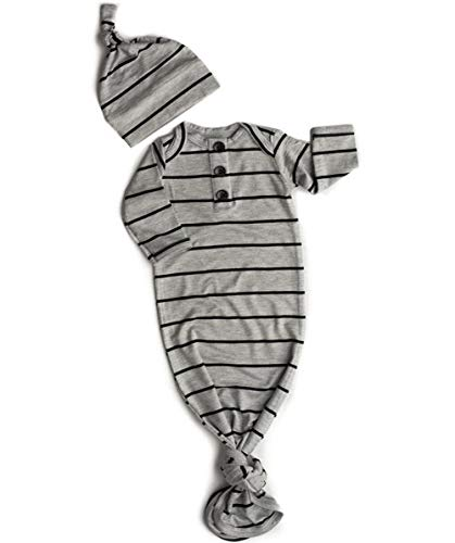 - SAYOO Unisex Baby Striped Cotton Sleeper Gowns with Cap Long Knotted Sleeping Bag (Grey, 70(0-6M))
