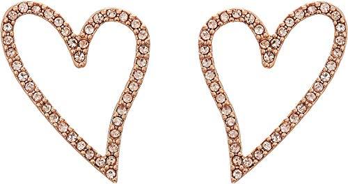 (Rebecca Minkoff Women's Pave Sweetheart Stud Earrings Rose Gold One Size)