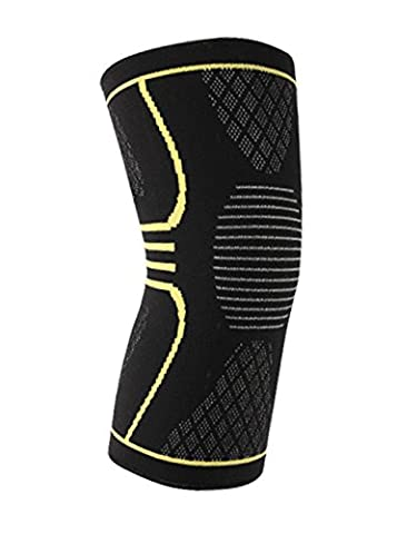 Superior Flex Pro Athletes Recovery Knee Support Brace,3D Knitting Solid Fitness Compression Sleeve,Relief from Arthritis and Joint Pain during Running, Jogging,Workout,Climbing,Single(Yellow,Medium)
