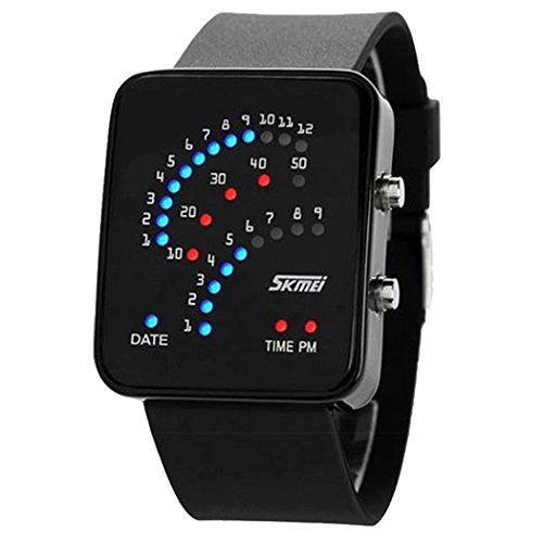 Niubility Ori 0989 Binary Digital Led Waterproof Unisex Sport Casual Wrist Watches  Black