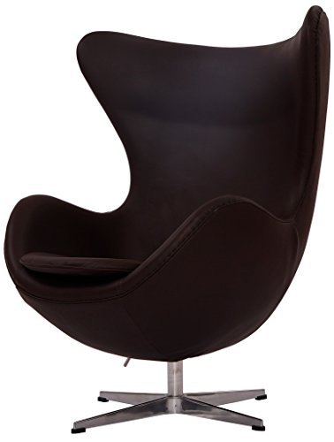 High Polished Star - MLF Arne Jacobsen Egg Chair . 100% Imported Italian Leather & Hand Sewing. Adjustable Tilt. High Density Foam. Swivel, 4 Star Satin Polished Aluminum Base Allowing Tilt. Strong