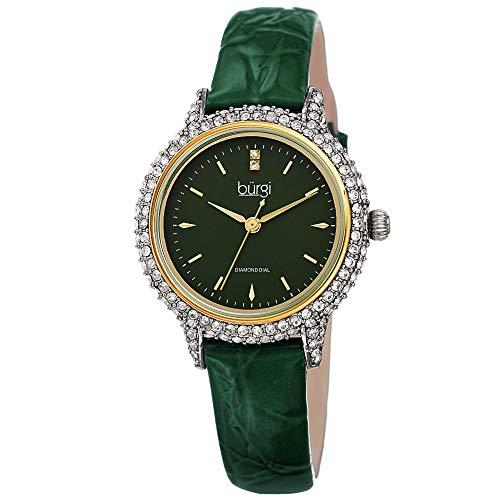 Burgi Swarovski Crystal Studded Case Watch - Encrusted with 164 Swarovski Crystals On Genuine Alligator Embossed Patent Leather Strap - Two Genuine Diamonds at 12 Hour- BUR249 (Green)