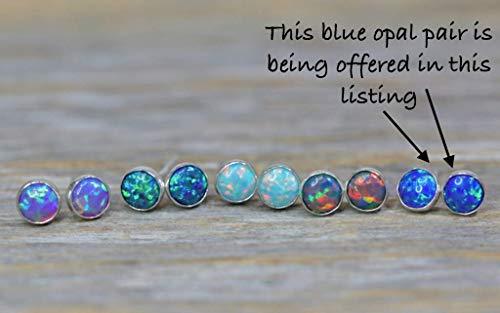Blue Opal Stud Earring- 5mm Sterling Silver Round- Bezel Set- Gift Idea