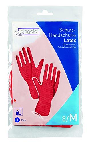 BINGOLD - Guantes protectores de latex, 1 par, tallas S, M, L o XL (colores azul, amarillo, rojo), M, roj