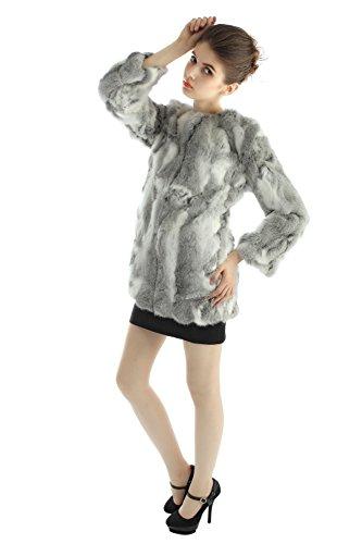 la real invierno piel las de Conejo abrigos Vemolla mujeres con chaquetas largas Gris larga Natural Naturaleza de manga OwgxqPEn