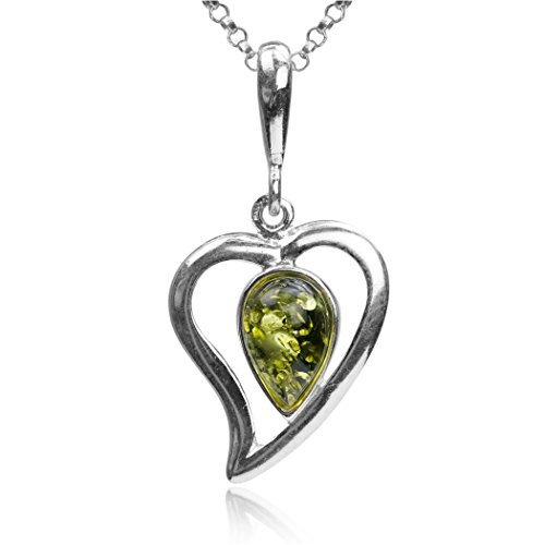 (Sterling Silver Green Amber Stone Drop Heart Pendant Necklace Chain 18 Inches)