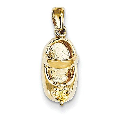 3 d novembre 14 carats avec Citrine Engraveable-JewelryWeb en forme de chaussure de bébé
