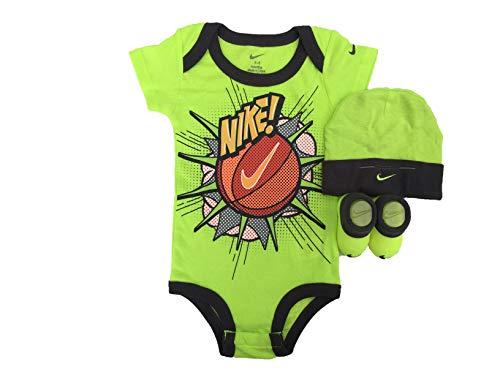 (NIKE Infant Babys 3-Piece Bodysuit, Hat & Booties Set (Volt(IBSP80353)/Orange/Black, 0-6)