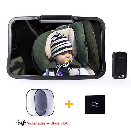 Moyu Home 2019 Updated Soft Adjustable Led Light Rear Facing Car Seat Baby Mirror with Timing Function and Energy Saving,Bonus 2 Sun Visors and Cleaning Cloth,Black Model