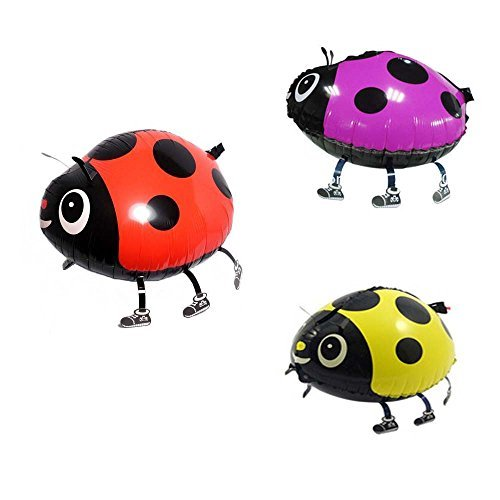 Nice Miyaya® Assorted Ladybug Insect Strolling Animal Balloon Pet Air Walker For Kids Children Enjoyable Celebration,Set of three (crimson, yellow, pink)