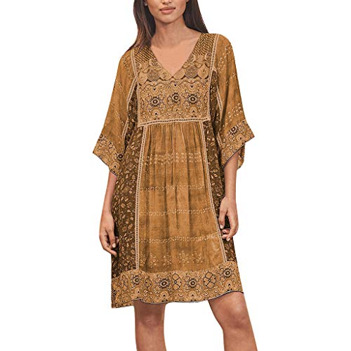 TEVEQ Women Fashion Bohemian Dress Party Print V Neck Plus Size Loose Casual Mini -