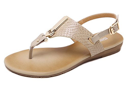 Round Sexy Metal apricot Flops Women's Summer Thongs Shoes Minetom Flip Sandals Strap Peep Clip Elastic Flat T Toe Buckle Beach P5EwRx