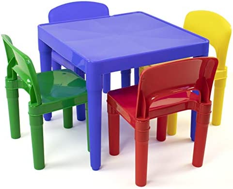 Brilliant Tot Tutors Kids Plastic Table And 4 Chairs Set Primary Colors Primary Collection Beatyapartments Chair Design Images Beatyapartmentscom