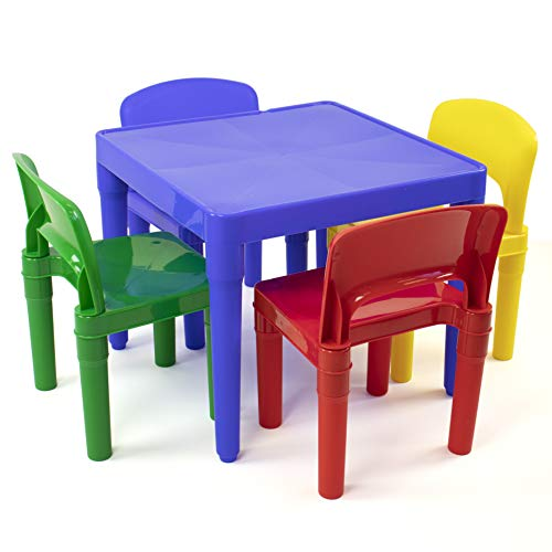 Tot Tutors Kids Plastic Table and 4 Chairs Set, Primary Colors (Primary Collection) from Tot Tutors