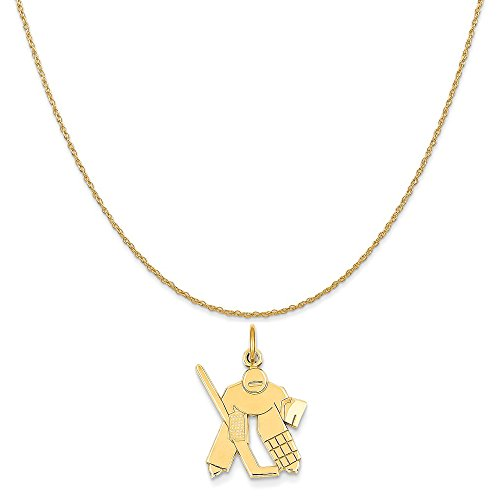 Mireval 14k Yellow Gold Hockey Goalie Charm on a 14K Yellow Gold Rope Chain Necklace, - Charm Goalie Gold Hockey