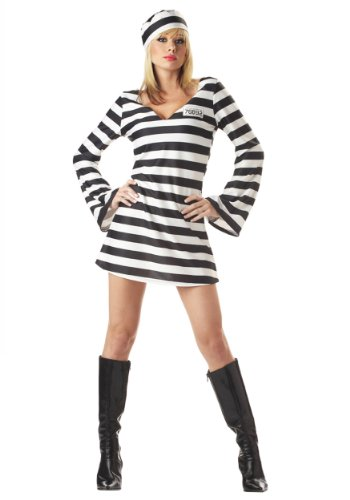 Prisoner Dress Costumes For Women (California Costumes Men's Convict Chick Costume, Black/White, Medium)
