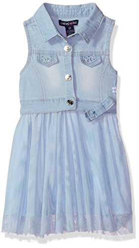 (Limited Too Girls' Little Casual Dress, Denim Vest top with Gathered Tulle Bottom Blue, 4 )