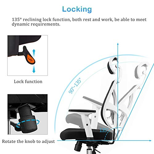 Kontorsstol med armar och ryggstöd, överdimensionerade ergonomiska skrivbordsstolar för hem vardagsrum sovrum, svart och vit, stöd 199 kg