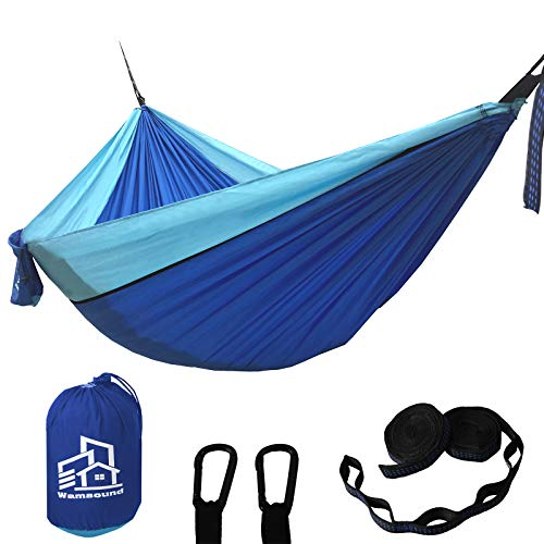 Wamsound Camping Hammock Single Double Portable Hammock,2 Tree Straps(6 Sections 9.2 Inches),Storage Bag,Indoor Outdoor Hammock,Backpacking,Camping,Hiking,Beach,Backyard