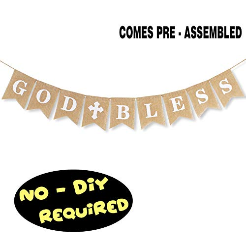 (God Bless Baptism Burlap Banner Communion Christening Baby Shower Birthday Wedding Party Decorations Hanging)