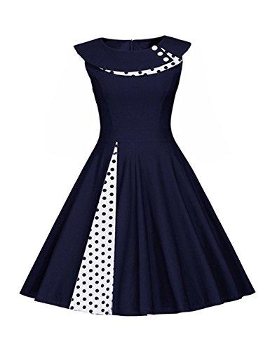 mangas Falda plisada de Puntos Vestido Vestmon blancos Azul de Rockabilly Lunares de fiesta noche Swing sin retro mujer Vestido de para Là Profundo verano cóctel de Vestido Vestido Vestido 7qqFP