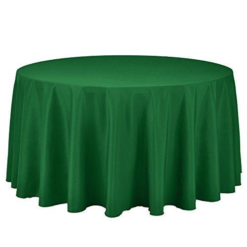 Round Cover Table Ivory (VEEYOO Round Tablecloth 108 inch - Solid Polyester Circular Table Cover for Wedding Party Baby Shower Restaurant Kitchen Dinner, Green Table Cloth)