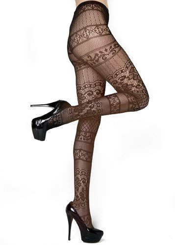 Stella Elyse Moulin Rouge Can Can Dancer Fishnet Pantyhose Queen Plus Size (Coffee)
