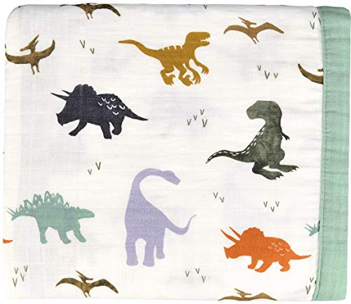 Dinosaur Muslin Stroller Blanket - Bamboo Summer Blanket for Toddler - Oversized 47