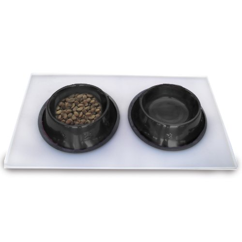 Platinum Pets 3 Cup Embossed Non-Tip Stainless Steel Dog Bowls with Clear Feeding Mat, Midnight Black Review