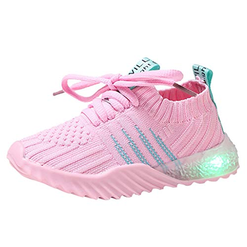 ModaParis Baby Boys Girls LED Light Up Sneakers, 1-6 Years Old, Kids Mesh Breathable Sport Running Shoes Pink (Summer Infant Bed Rail Pink)