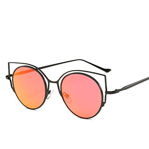 De Mode Retro Soleil Lunettes en Lunettes Oreilles encadré Ladies 'Sunglasses De Métal JUNHONGZHANG rouge Chat De noir Lunettes Mercure YdX7q