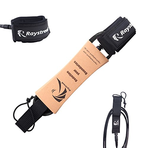 RAYSTREAK Surfboard 6ft Leash 7mm Premium Straight Leash with Double Stainless Steel Swivels and Triple Rail Saver by RAYSTREAK