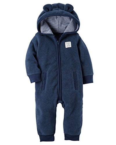 Carter's Baby Boys' Hooded Fleece Jumpsuit (Newborn) (Carters Hooded Jumpsuit)