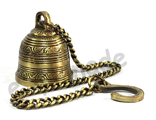 eSplanade - Ethnic Indian Handcrafted Brass Temple Bell with Chain | Brass Hanging Bell | Home Decor | Door Decor | Pooja Accessories (Bell Brass Temple)
