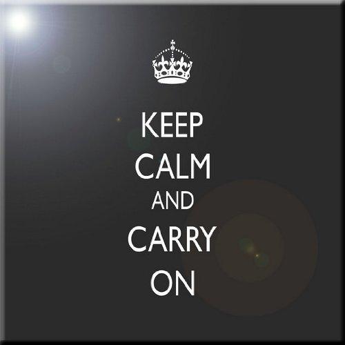 Rikki Knight Keep Calm and Carry on-Black Design Ceramic Art Tile 8 x 8
